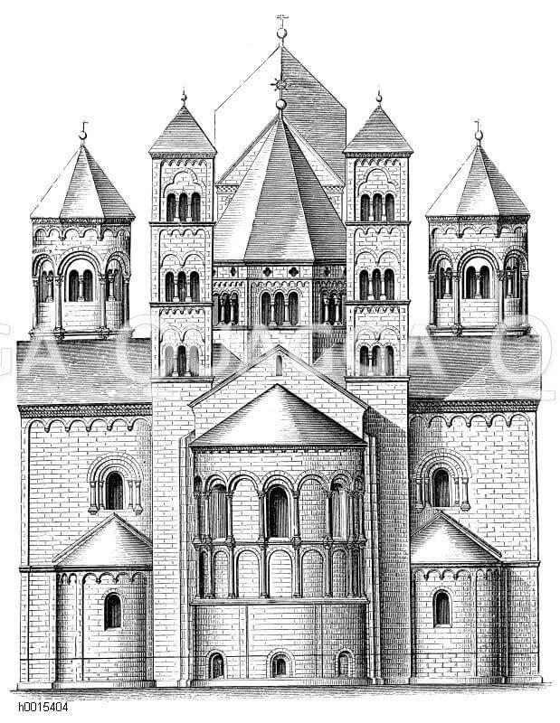 Abteikirche Maria Laach, an der Südwestseite des Laacher Sees in der Eifel im Landkreis Ahrweiler, hochmittelalterliche Klosteranlage: Östliche Ansicht