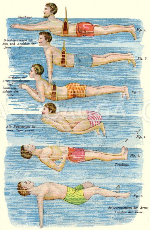 Schwimmen lernen Illustration