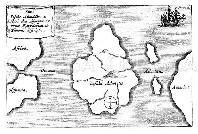 Atlantis auf einer Landkarte des 17. Jahrhunderts Illustration